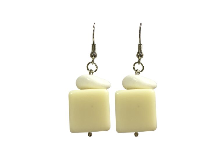 One Button earrings - cream cubes #creamwhites #earrings #accessories #onebutton Click to buy from the One Button shop.