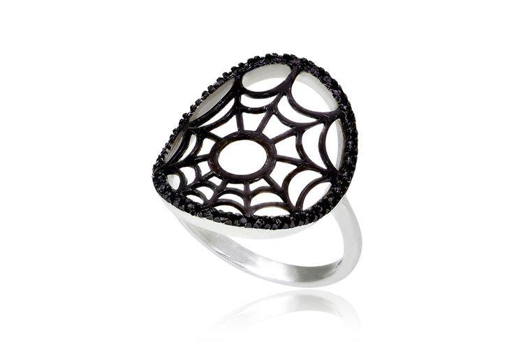 Cobweb Ring Δαχτυλίδι με μαύρα cz από λευκόχρυσο 9Κ. Price 170 €