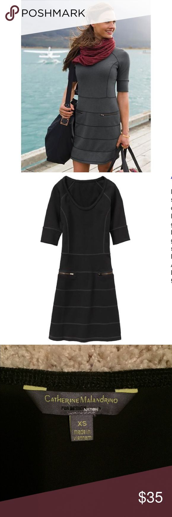 ATHLETA Black Ponte Knit Half Sleeve STRATA Dress Beautiful dress with style lines. This dress is made with pointe fabric that's soft and thick and great for travel. Still in excellent condition. Athleta Dresses Mini