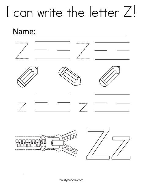 I can write the letter Z Coloring Page - Twisty Noodle in ...