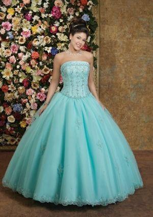 Blue Taffeta Beading Aqua Quinceanera Dress QD2C35 at Dressmini.com
