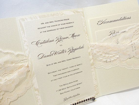 MARY2 Lace Wedding Invitation Invite Vintage by LavenderPaperie1, $843.75
