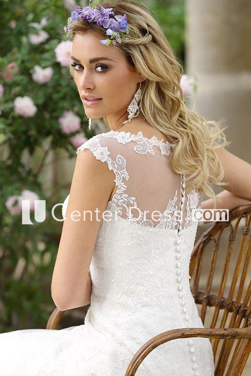 6642844f3d2 A-Line Floor-Length Cap-Sleeve Square-Neck Lace Wedding Dress With ...