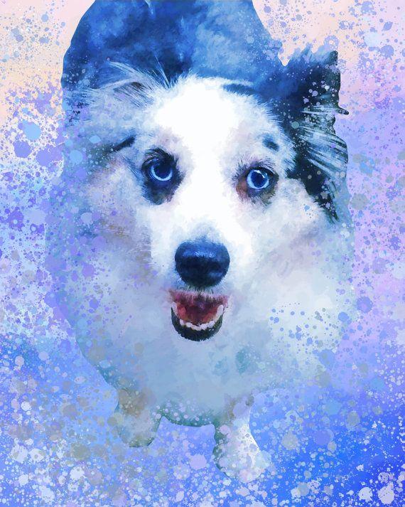 Custom dog portrait Blue dog portrait by MelaCustomPortraits