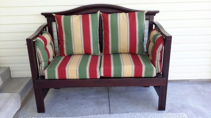 Patio couch made from old crib found at second hand store ...