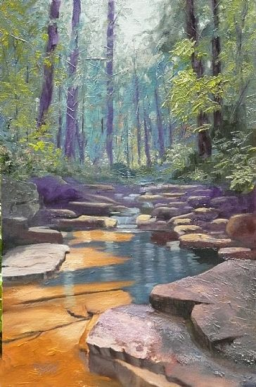 Tommy Thompson - Fiery Gizzard Creek- Oil - Painting entry - January 2014 | BoldBrush Painting Competition