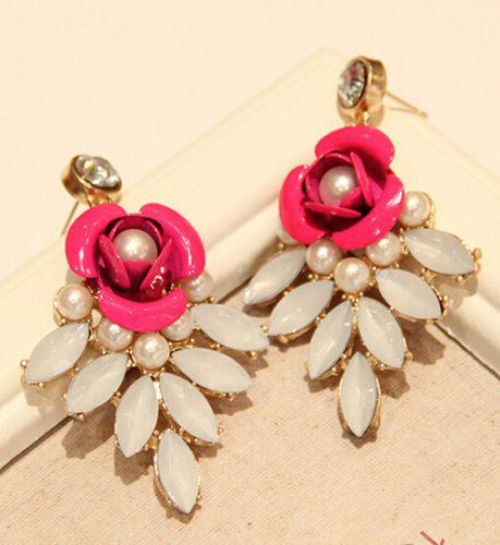 Hot-New-Fashion-Women-Jewelry-Resin-Flower-Crystal-Statement-Dangle-Stud-Earring