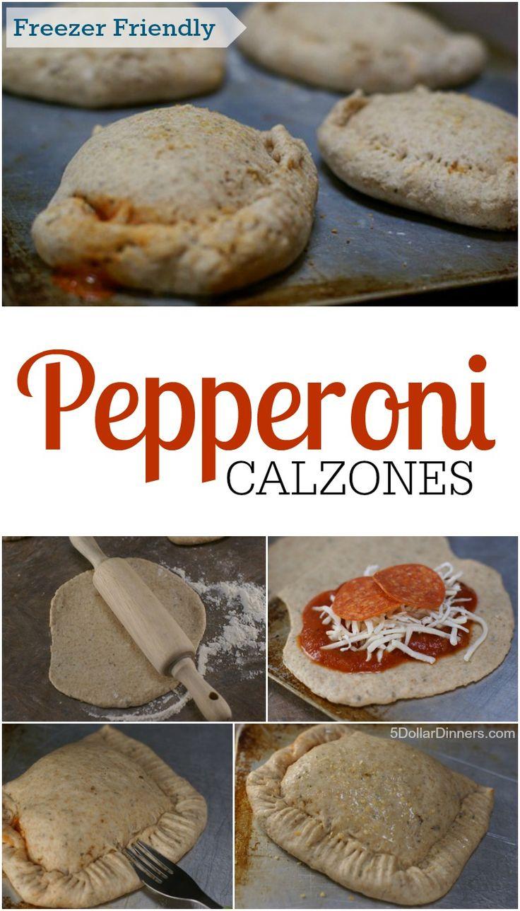 Freezer Friendly Pepperoni Calzones from 5DollarDinners.com