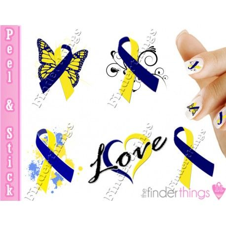 A gorgeous set of colorful Down Syndrome Support Ribbon Mix Nail Art Decal Stickers, perfect for showing your support to raise awareness.