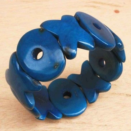 Hugs and Kisses Blue Beaded Tagua Bracelet #handmade #chunky #eco Pin it to Win it: http://www.theearthfriendlyfamily.com/pin-win-choice-item-artisans-andes/