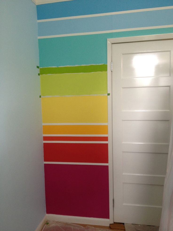 how to paint a rainbow wall