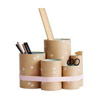 """Tube In Tube """"Rose Organizer""""  Schreibtischorganizer/Stiftebox mit rosanem und orangem Silikonband"""
