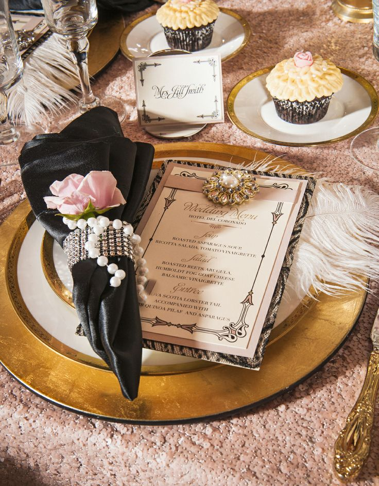 Bridal Stop on San Diego Style Weddings : Old Hollywood Glamour Shoot | photo by Steward Bertrand Photography | linens by La Tavola | flowers by Indulge Wedding Florals & Special Events | cupcake by Eleve | flatware by Platinum Party Rentals | stationary by Whimsique