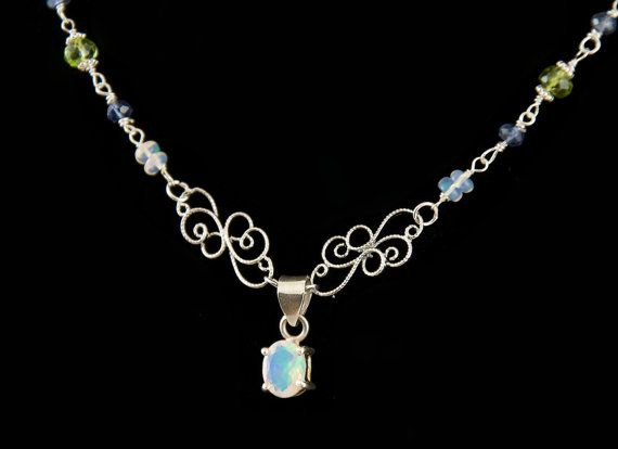 Natural 7.2 Carat Ethiopian Opal Pendant on Opal, Peridot, and Iolite Argentium Sterling Silver Necklace (N9287040)