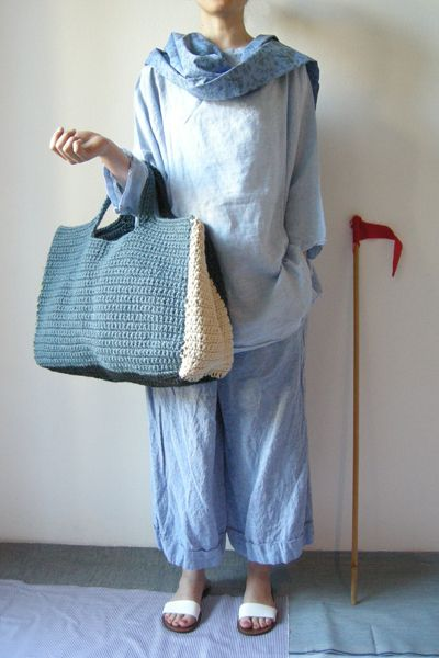 Daniela Gregis Crochet Shopping Bag 100% canapa size unique color navy*light blue*cream*yellow 697.00€!!!