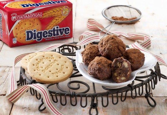 """Τρουφάκια σοκολάτας με ταχίνι και μπισκότα """"Digestive"""" ΠΑΠΑΔΟΠΟΥΛΟΥ"""