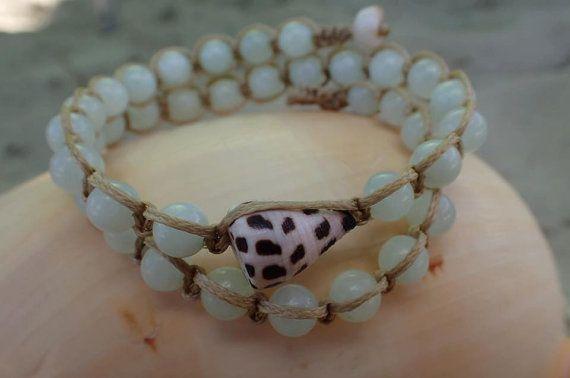 SALE Hawaiian Shell & Aqua Jade Beaded Wrap by CoconutLily on Etsy - 21.00