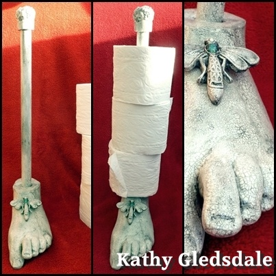 Kathy's cast foot..made into a toilet roll holder!
