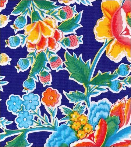 Fantasia Navy Blue Oilcloth Fabric