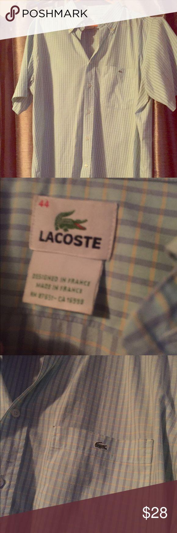 Mens Lacoste dress shirt. Short sleeve Dress shirt worn twice. Lacoste Shirts Dress Shirts