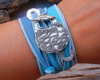 Dragonfly Jewelry Silk Wrap Bracelet Dragonflies by HappyGoLicky