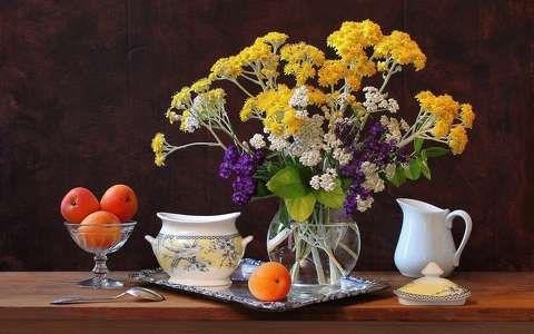 barack csendélet gyümölcs virágcsokor és dekoráció