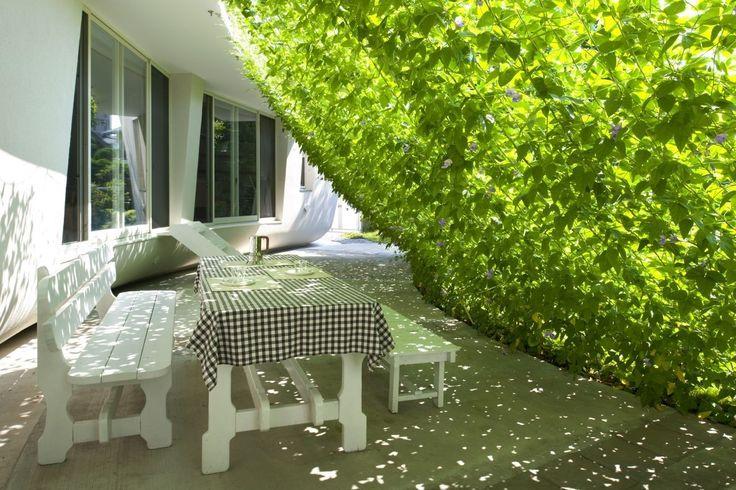 Esszimmer im freien unterliegen grüne Wand in stark weiße Flüssigkeit Bio & nachhaltige Vermögenswerte Featured In ein japanischer Home von Hideo Kumaki Büro Architekten