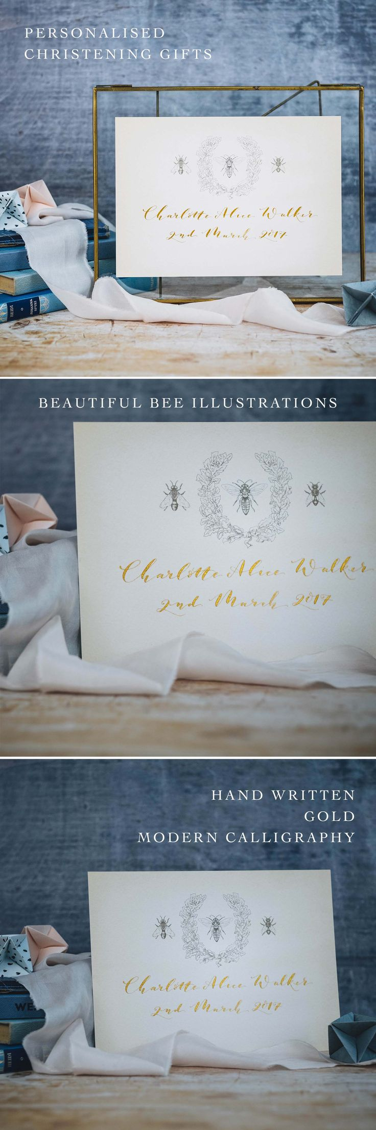 Personalised Christening Gift. Three Bee Illustrations and gold modern calligraphy. Perfect to give as a gift for a new baby or christening. Unique and personal. Available in our Not on the High Street Store.
