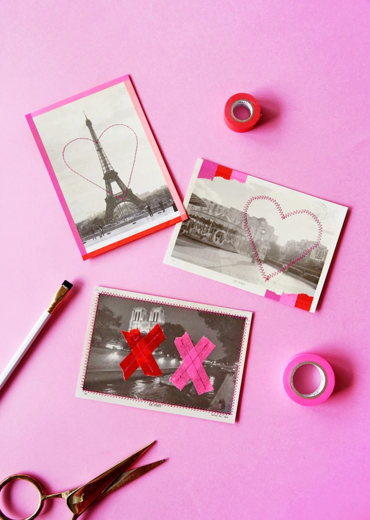 Washi taped Valentines Paris postcards.