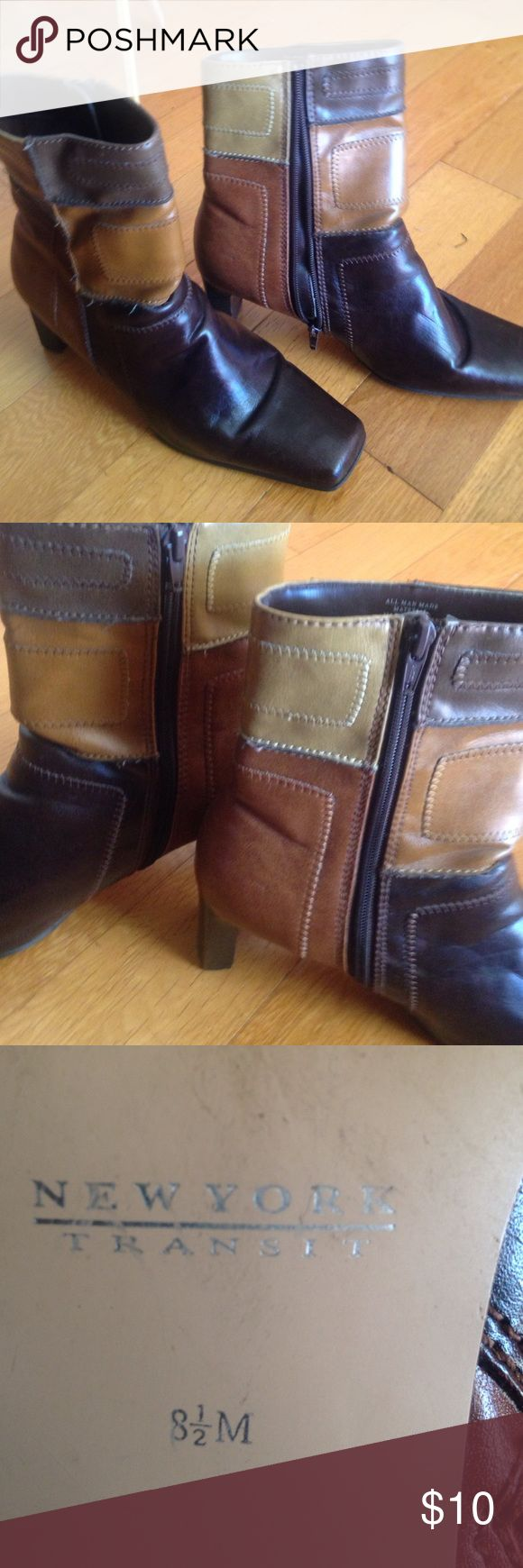 Tri color side zip boots great condition. 8 1/2 Gently used boots 8 1/2 . No scratches zippers work. Goes w/ almost everything .. I would keep but my foot grew . Not leather but man made material .,don't like the price .. make an offer . AKA New York Shoes Ankle Boots & Booties