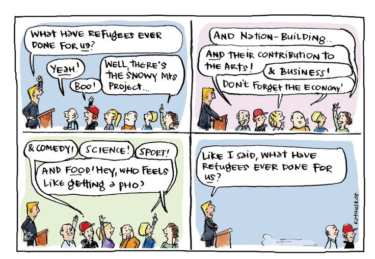 Cartoon on What have refugees done for Australia