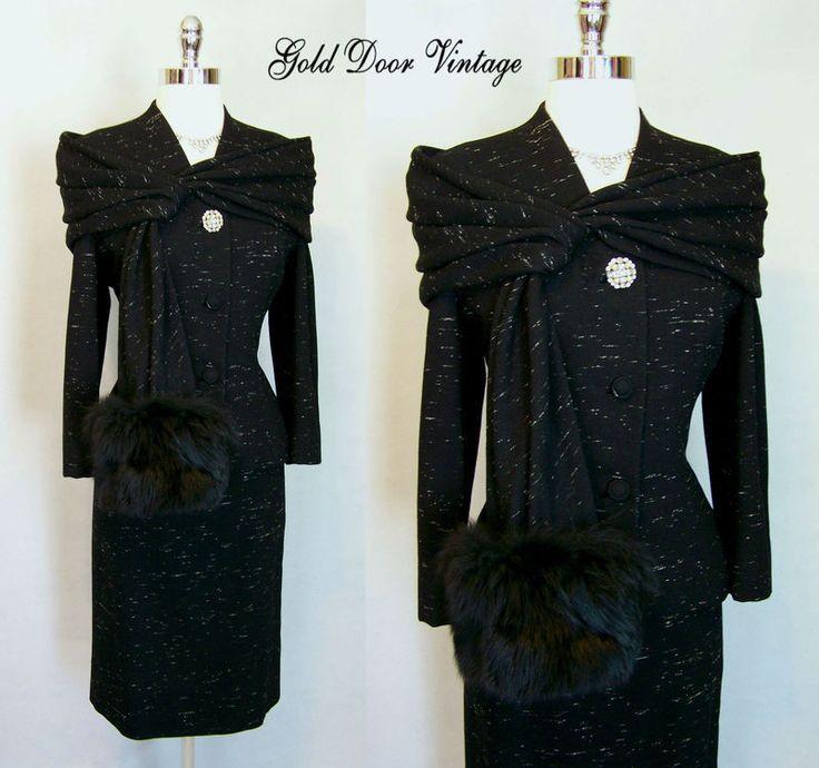 Exquisite Vtg 50s LILLI ANN Wool Tweed FOX FUR Trim 2 Pc Cocktail Dress Suit