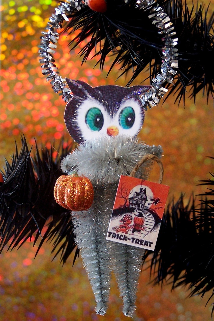 trick or treat owl retro halloween decoration ornament by treepets - Vintage Style Halloween Decorations