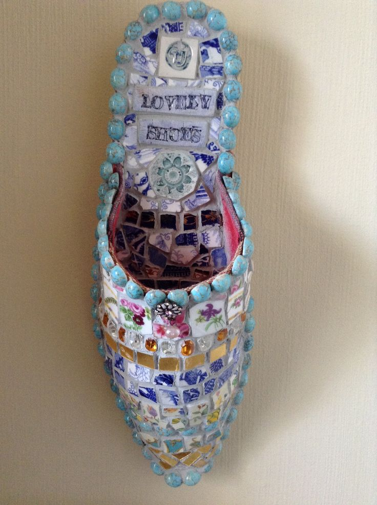 Mosaic shoe with ceramic handmade words.