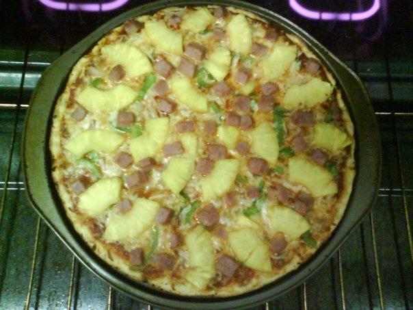 Hawaiian Pizza: ham, pineapple, green pepper