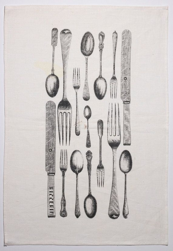 Cutlery teatowel - vintage image by Rizzeria on Etsy, $18.00