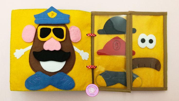 #libro #sensorial #actividades #bebe #infantil #juegos #juguetes #baby #handmade #hechoamano #telas #fabrics #fieltro #Mr.Potato #accesorios