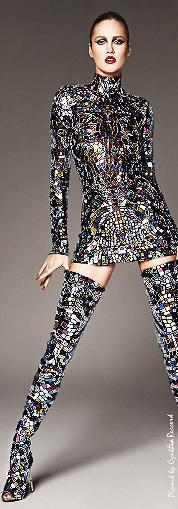 Karmen Pedaru in Tom Ford's Multicolor broken-mirror Mini Dress & Thigh-High Boots SS 2014 | cynthia reccord