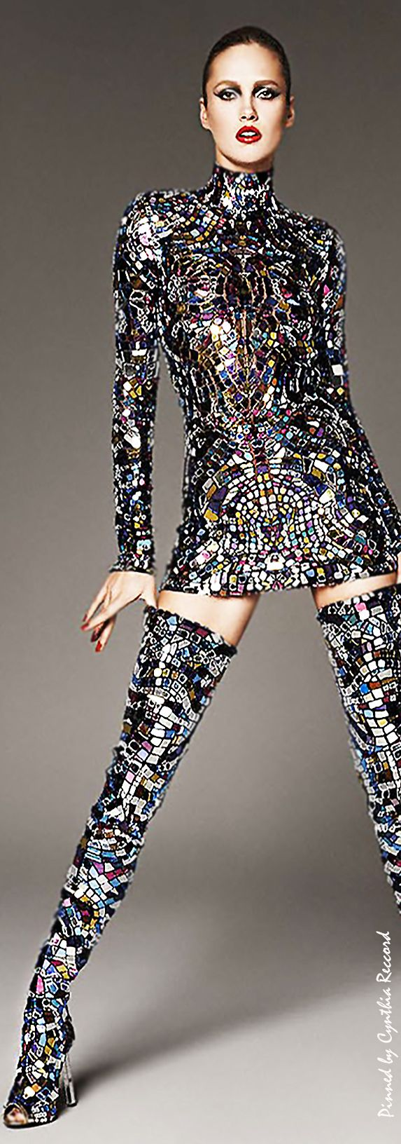 Karmen Pedaru in Tom Ford's Multicolor broken-mirror Mini Dress & Thigh-High Boots SS 2014 | cynthia reccord