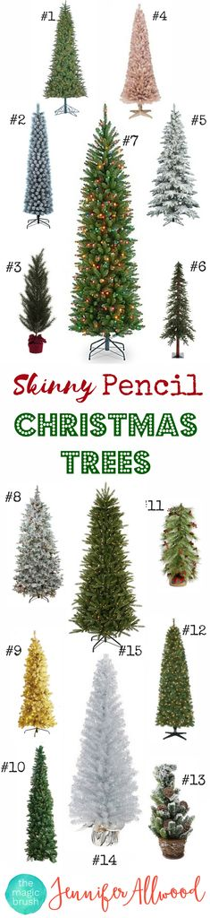 Skinny Christmas Trees - Pencil Christmas Tree Decorations - Skinny Christmas Tree Ideas - Slim Christmas Tree | Magic Brush