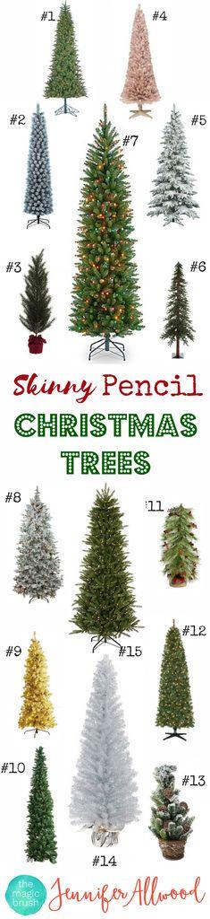 Skinny Christmas Trees- Pencil Christmas Tree Decorations - Skinny Christmas TreeIdeas - Slim Christmas Tree   Magic Brush