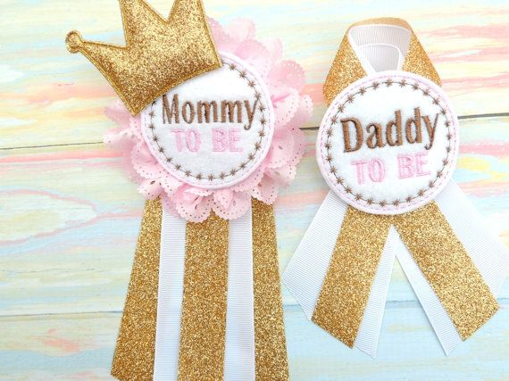 Pink baby corsage - Gold baby corsage - Daddy to be pin - Mommy to be pin - Pink…