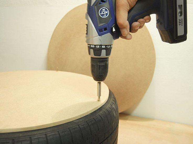 Tutorial fai da te: Come creare un pouf con un copertone via DaWanda.com