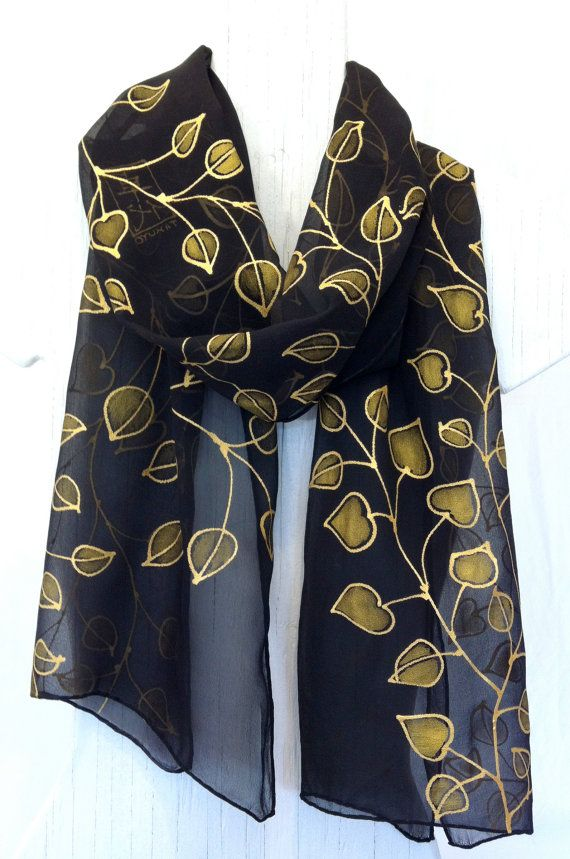 Black Silk Scarf Hand Painted Silk Scarves by SilkScarvesTakuyo, $125.00