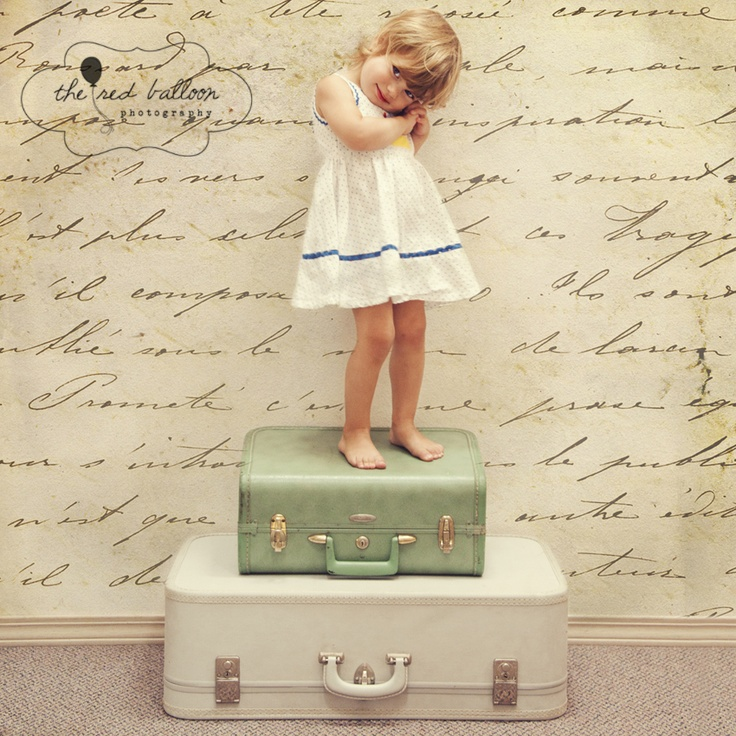 i love the wallpaper and want to find vintage suitcases for props!