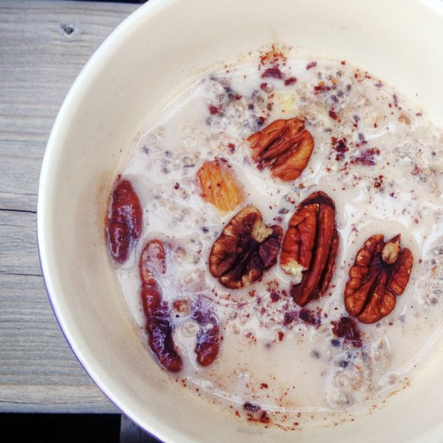 """8 """"Egg Free"""" Breakfast Ideas-Introducing Chia Seed Maple Porridge! If your in a breakfast rut or simply don't eat eggs-this list is for you! This porridge is a great dairy-free, grain free, gluten free, soy free, traditional oatmeal substitute as well!"""