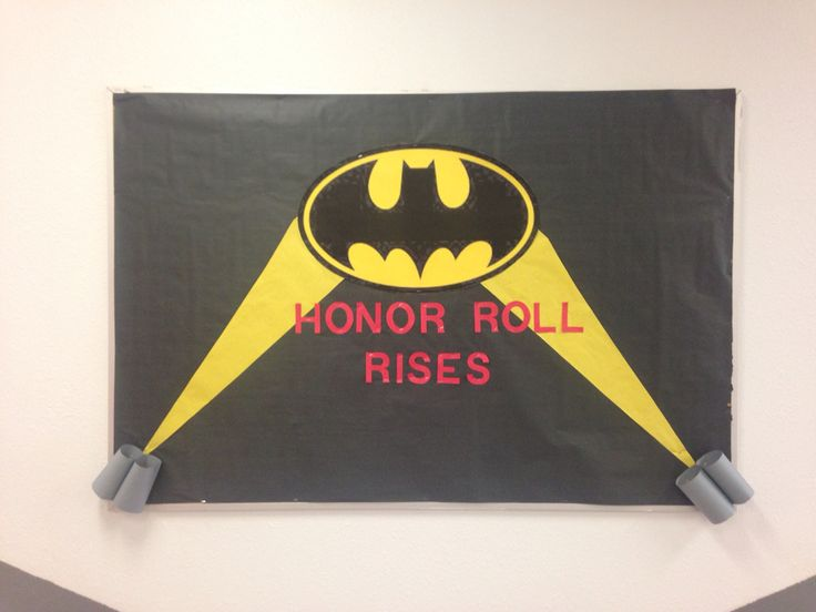 Batman themed honor roll bulletin board