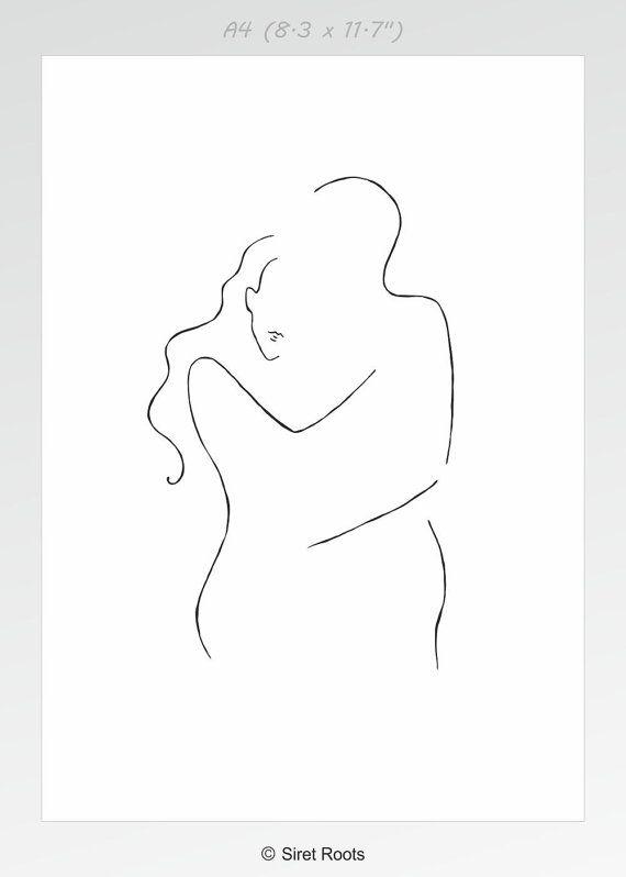 10x8 Minimalist Line Art Romantic Couple Drawing Love