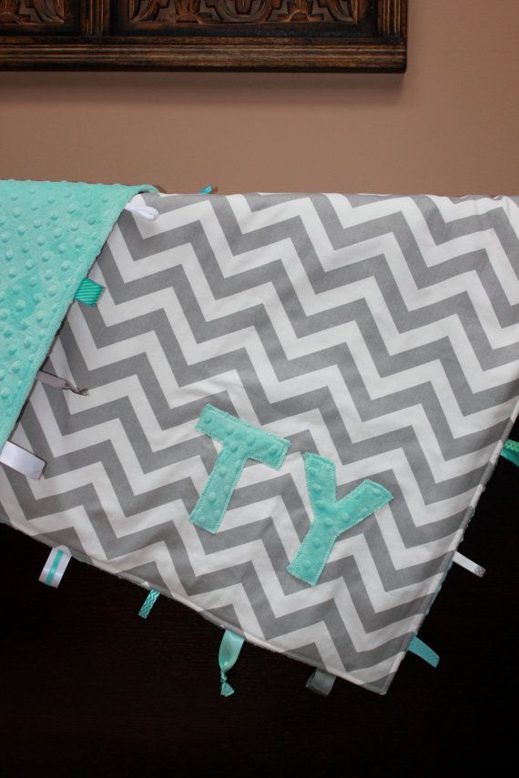 Personalized chevron baby blanket lovey for crib by LilKingdom
