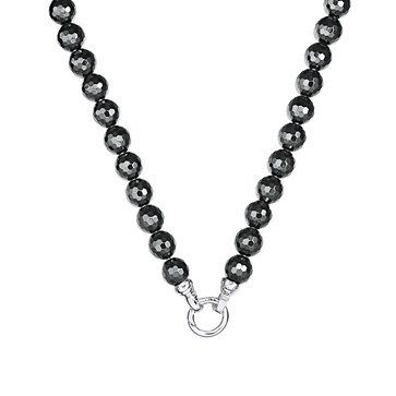 NECKLACE KAGI MIDNIGHT HEMATITE 12MM ROUND RECONSTITUTED HEMATITE ON SURGICAL STAINLESS STEEL RHODIUM PLATED WITH BOLTRING CLASP 49CM - Jons Family Jewellers
